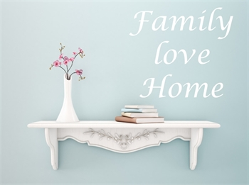 מדבקת קיר - Family, love home