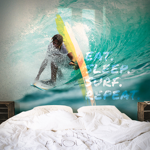 מדבקת טפט גלישה - Eat Sleep Surf Repeat