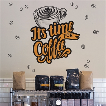מדבקת טפט - It's Time For Coffee צבעוני