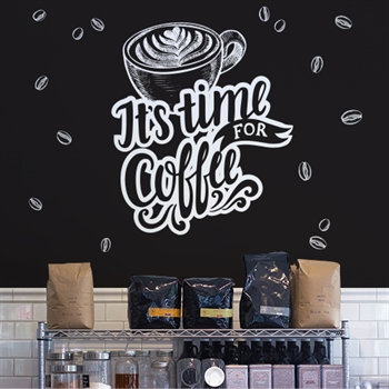 מדבקת טפט - It's Time For Coffee שחור לבן