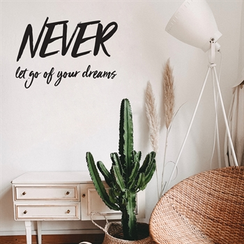 מדבקת קיר- NEVER let go of your dreams